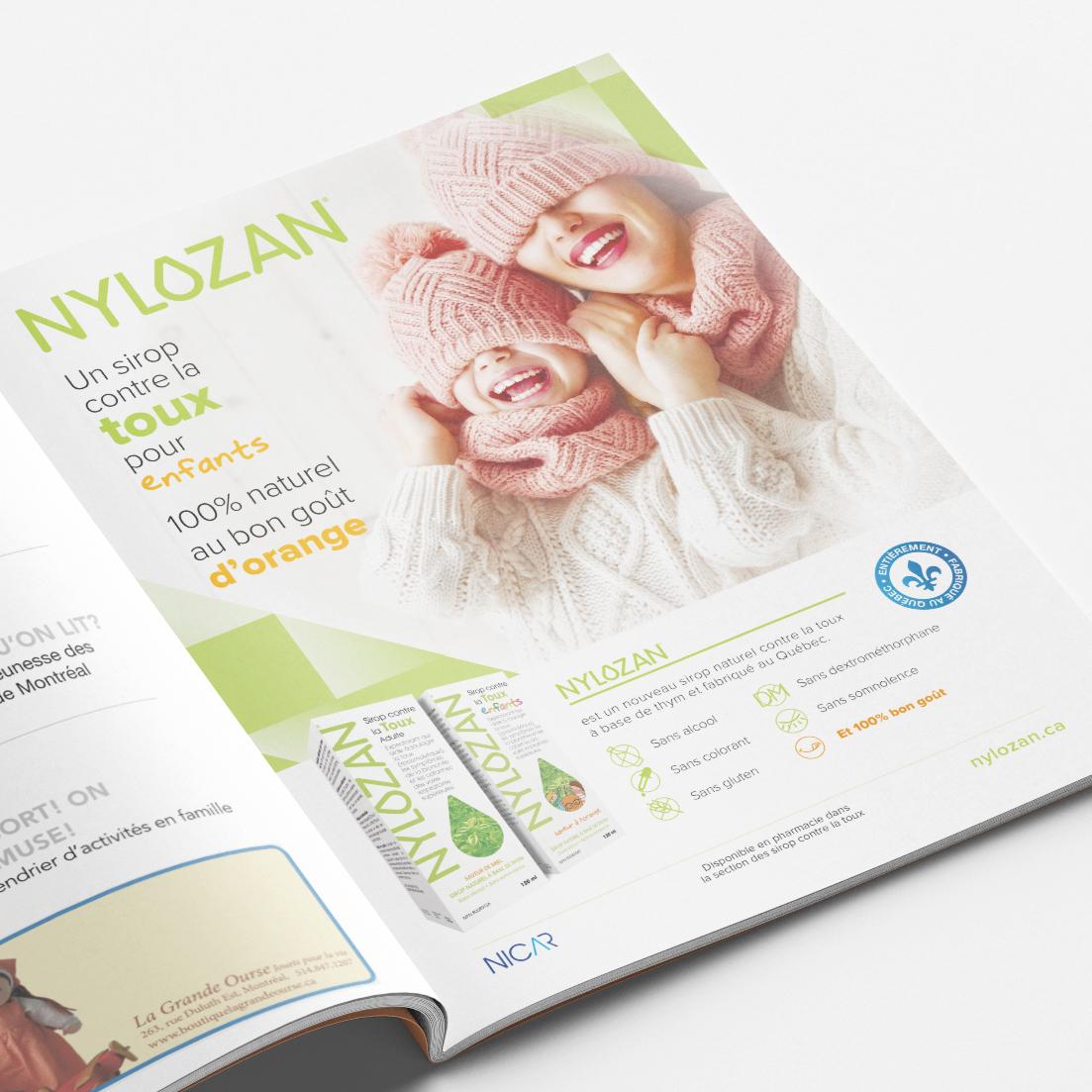 """Publicité pour Nylozan dans le magasine """"Montreal pour enfants"""" - 2020-11"""