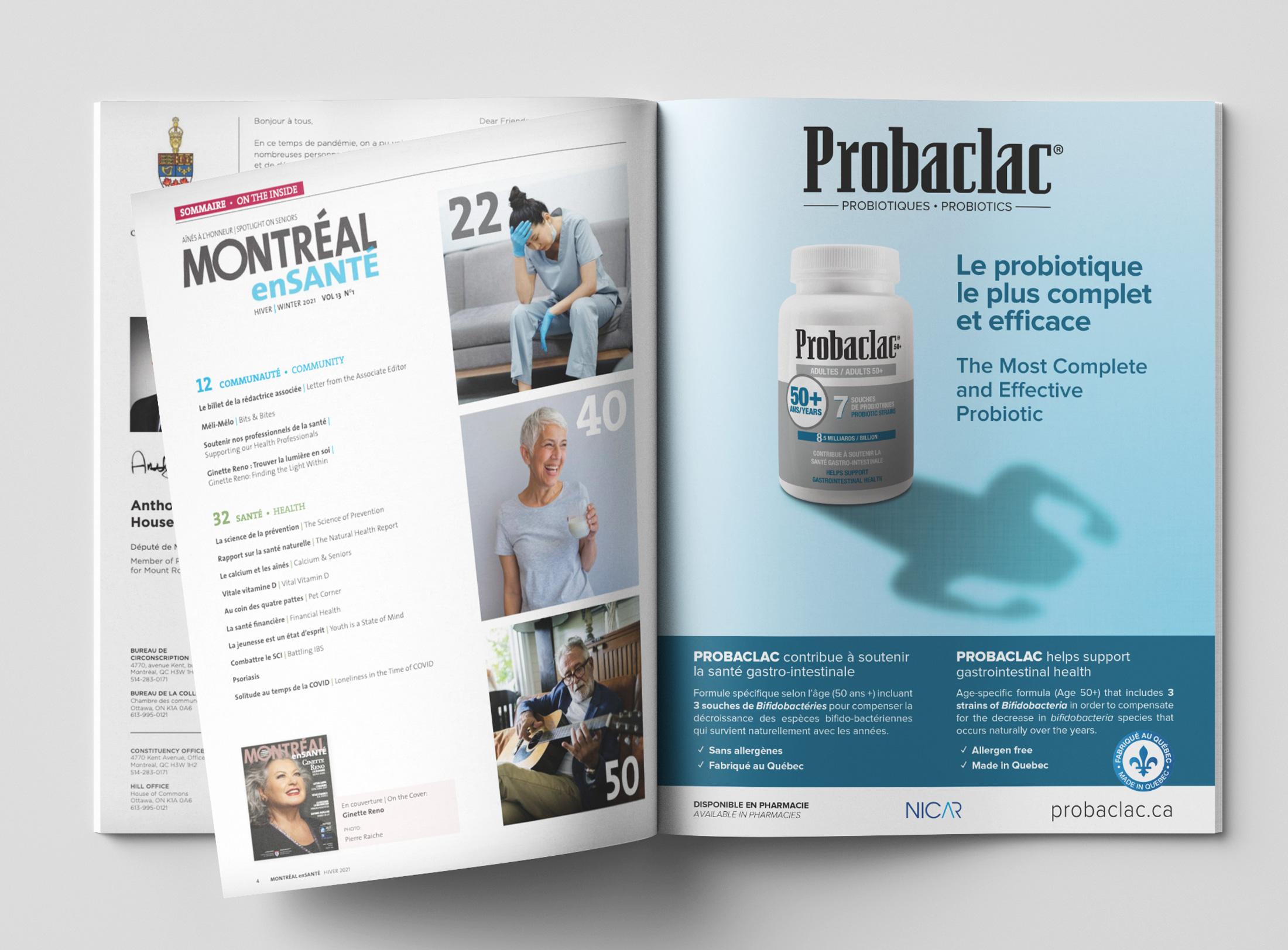"""Publicité pour Probaclac dans le magasine """"Montreal en Santé"""" - 2020-12"""